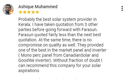 Best solar companies in Calicut Farasun Testimonial 6